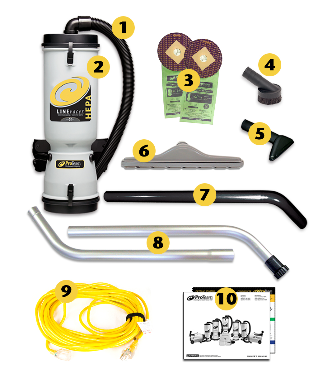 New 100687 LV-100 ProTeam Commercial Backpack Vacuum 10 Quart LineVacer ULPA