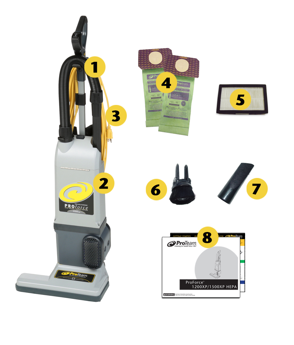 Image of what is included in the box of ProTeam ProForce 1500XP Upright Vacuum